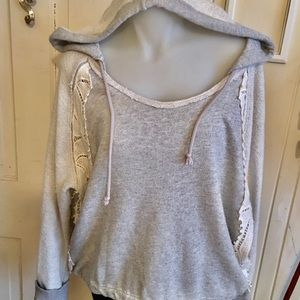 Free people Hoodie Gray Top - M gray , cotton/poly
